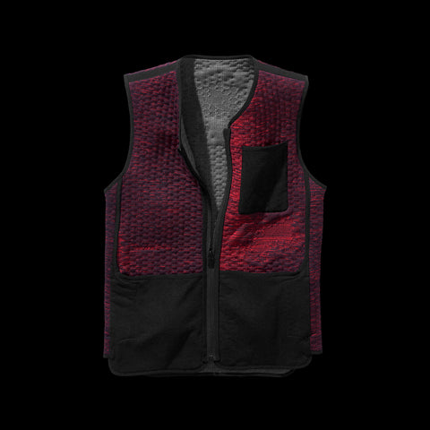 BYBORRE reversible vest aw19 the layered edition graphite deep red front
