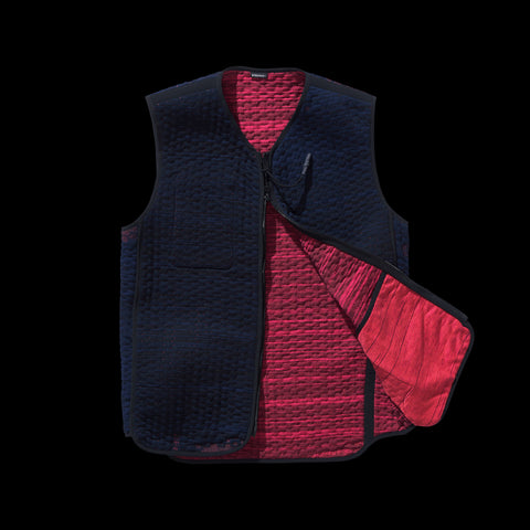 BYBORRE reversible vest aw19 the layered edition night sky blue coral front
