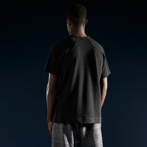 BYBORRE t-shirt shirt short sleeve aw19 the layered edition soot black on body back