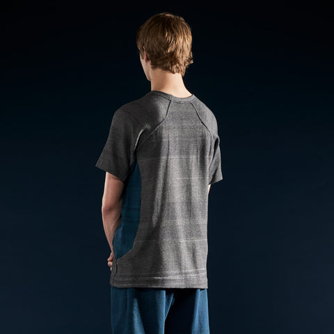 BYBORRE t-shirt shirt short sleeve aw19 the layered edition graphite petrol on body back