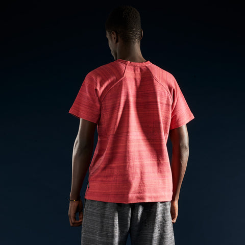 BYBORRE t-shirt shirt short sleeve aw19 the layered edition coral on body back