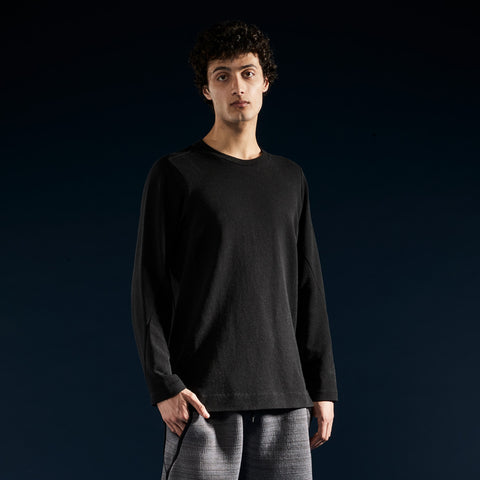 BYBORRE shirt long sleeve aw19 the layered edition soot black on body front