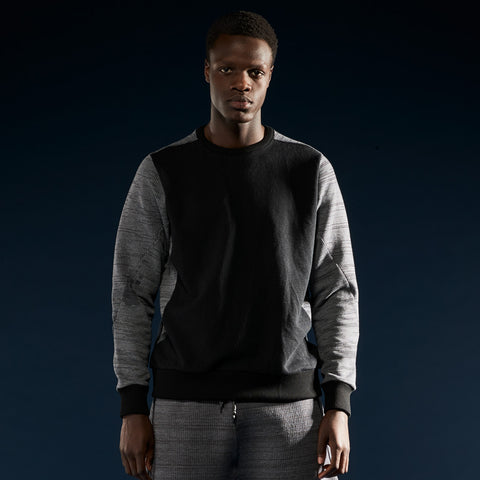 BYBORRE sweater aw19 the layered edition soot black graphite on body front