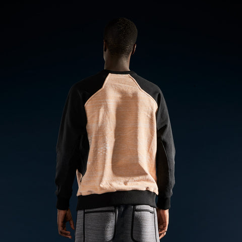 BYBORRE sweater aw19 the layered edition heather orange soot black on body back