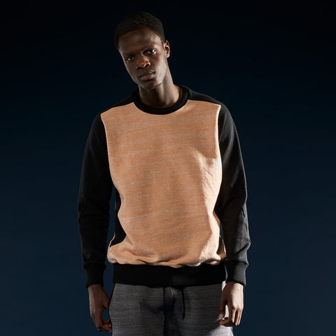 BYBORRE sweater aw19 the layered edition heather orange soot black on body front