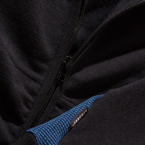 BYBORRE zip hoodie hooded sweater aw19 the layered edition soot black petrol detail