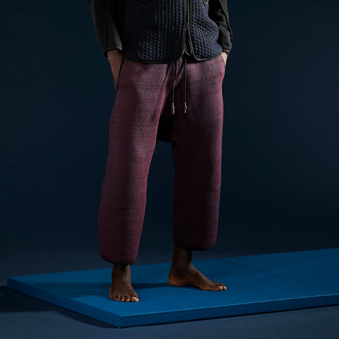 BYBORRE pants aw19 the layered edition night sky blue on body front