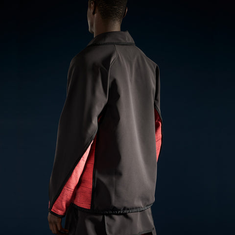BYBORRE c jacket aw19 the layered edition gore tex black coral on body back