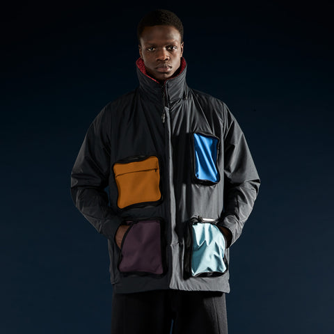 BYBORRE field jacket aw19 the layered edition gore tex multicolor on body front