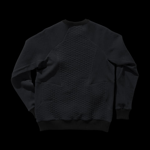 BYBORRE weight map sweater aw19 the layered edition wool deep blue back