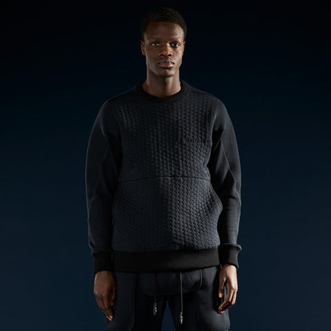 BYBORRE weight map sweater aw19 the layered edition wool deep blue on body front
