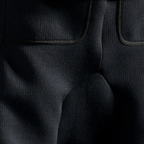 BYBORRE cropped pants aw19 the layered edition wool deep blue detail