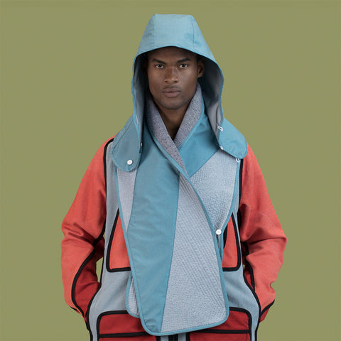 BYBORRE hooded scarf hs1 ss19 the hybrid edition gore-tex dusty blue gore on body on-body