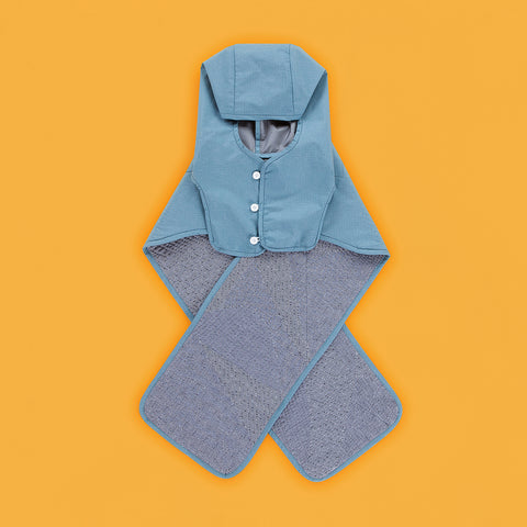 BYBORRE hooded scarf hs1 the hybrid edition gore-tex dusty blue gore front