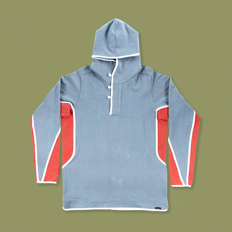 BYBORRE hoodie hooded sweater a6 ss19 the hybrid edition experimental dusty blue red white front