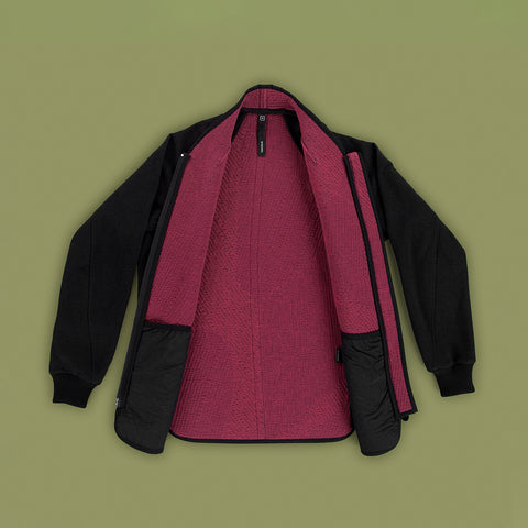 BYBORRE jacket f2 ss19 the hybrid edition black fuchsia navy front open