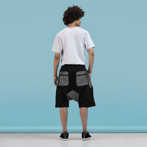 BYBORRE shorts short b5 ss19 the hybrid edition black white on body on-body