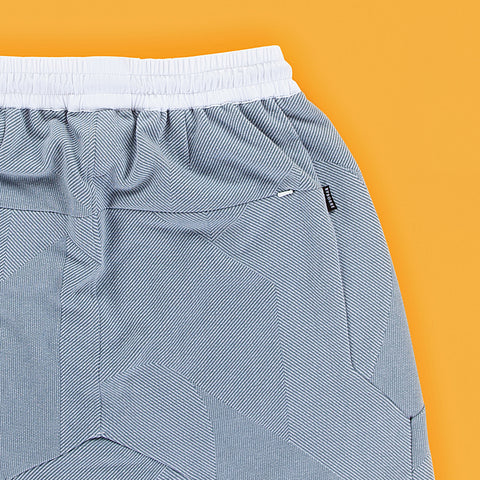 BYBORRE shorts short ss19 the hybrid edition dusty blue white detail
