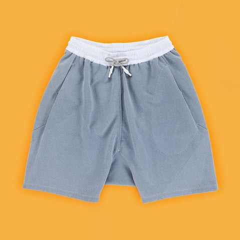 BYBORRE shorts short ss19 the hybrid edition dusty blue white front