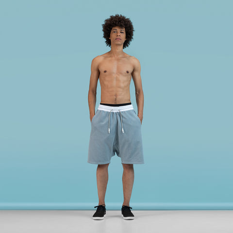 BYBORRE shorts short ss19 the hybrid edition dusty blue white on body on-body