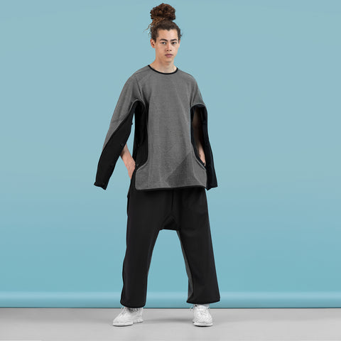 BYBORRE sweater c7 experimental ss19 the hybrid edition black white on body on-body