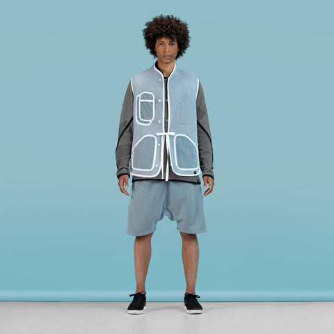 BYBORRE vest i3 ss19 the hybrid edition dusty blue on body on-body