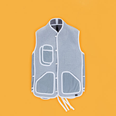 BYBORRE vest i3 ss19 the hybrid edition dusty blue front