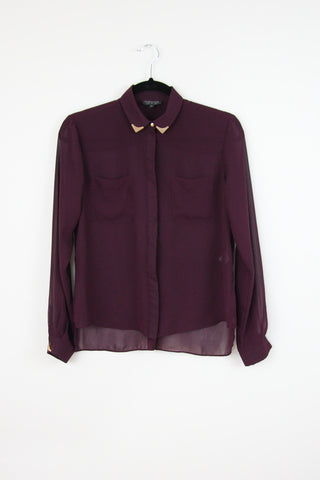 CHIFFON BUTTON UP WITH METAL COLLAR TABS
