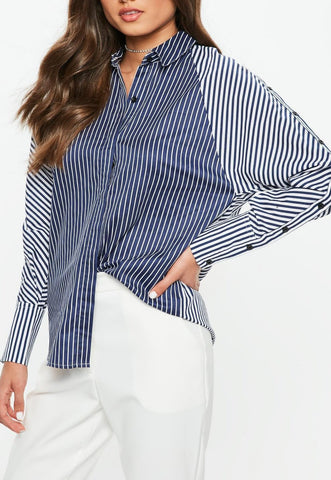STRIPED BUTTON SLEEVE SHIRT
