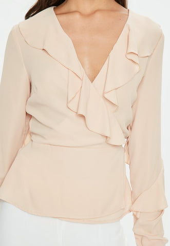 RUFFLE TIE FRONT FRILL BLOUSE