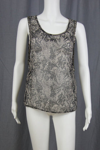 SNAKE PRINT TANK WITH BEADED ARMHOLE