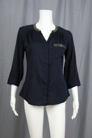3/4 SLEEVE NAVY SATIN BLOUSE WITH BEAD TRIM
