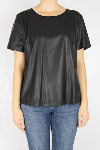FAUX LEATHER BOXY TEE