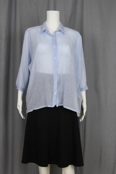 3/4 SLEEVE SHEER BUTTON UP