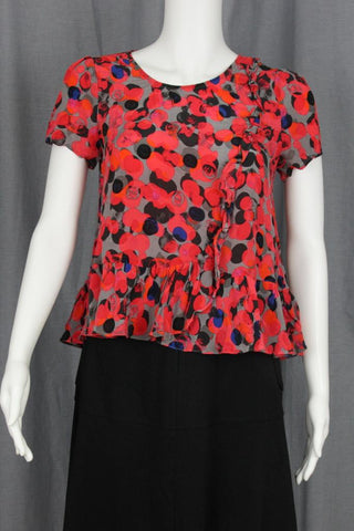POLKA DOT PRINT RUFFLE SILK TOP