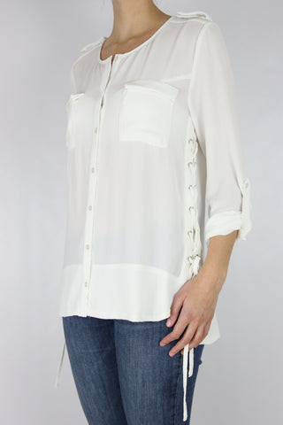 BUTTON UP WITH LACE-UP SIDE