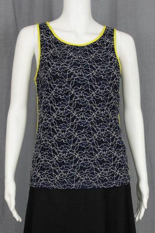 LACE TANK WITH NEON YELLOW TRIM
