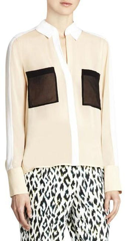 """EMMA"" LONG SLEEVE SILK CHIFFON COLOR BLOCK BLOUSE"