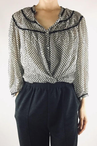 3/4 SLEEVE POLKA DOT CHIFFON PEASANT BLOUSE