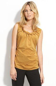 SLEEVELESS FAUX BRAID NECK TOP