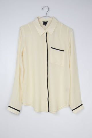 SILK BLOUSE WITH FAUX LEATHER TRIM