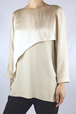 LONG SLEEVE SILK TOP WITH SATIN OVERLAY FRONT