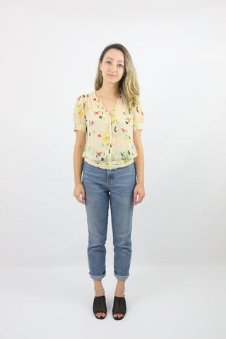 SPLATTER ART PINTUCK BLOUSE