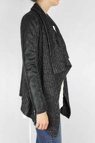 LEATHER SLEEVE SWEATER JACKET