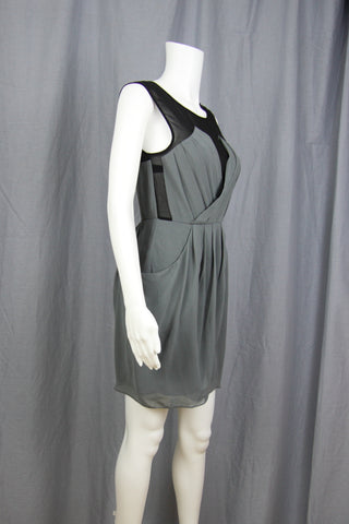 PLEATED SURPLICE DRESS WITH POCKETS