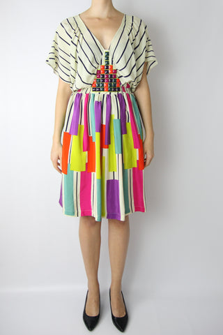 STRIPE & COLORBLOCK DRESS WITH GEMS