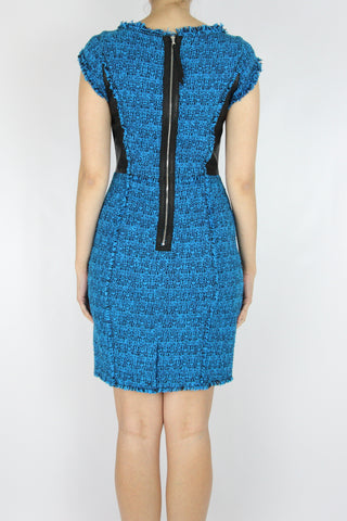 TWEED SHEATH DRESS WITH LEATHER TRIM