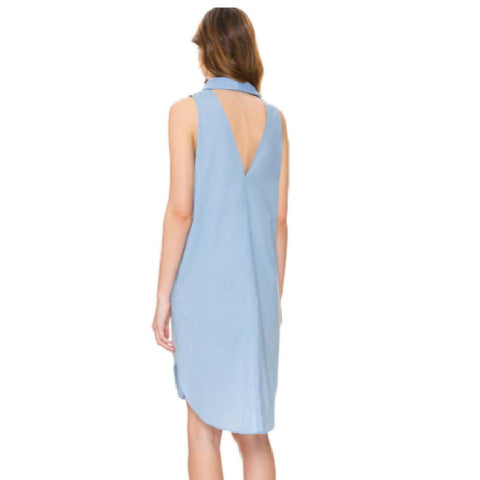 SLEEVELESS SHIRT DRESS WITH LAPEL NECK