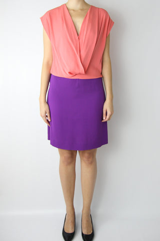 Color Block Drape Front Dress