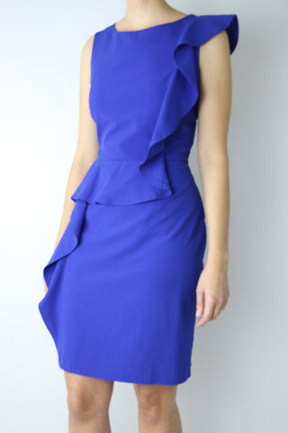 ASYMMETRICAL RUFFLE SHEATH DRESS